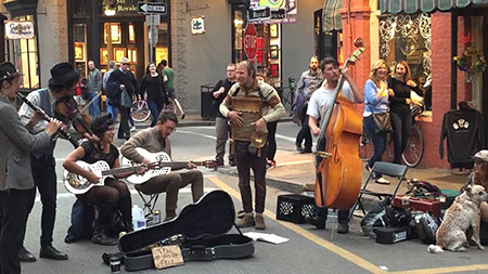 band playing in the street